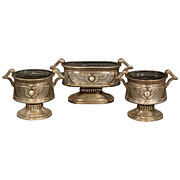 Three piece Egyptian Revival nickel over bronze jardiniere set circa 1920