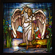 7547 Antique Tiffany Stained Glass Angel Window