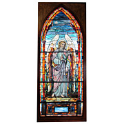 7548 12'H Tiffany Stained Glass Angel Window