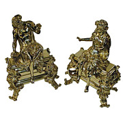 Beautiful pair of French bronze figural chinets.