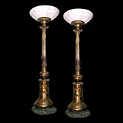 Pair of Solid Bronze Columns with Marble Base &  Alabaster Top