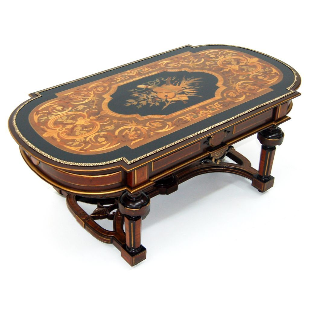 913 19th c renaissance revival inlaid antique coffee for Vintage coffee table