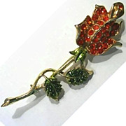 Elegant Rhinestone Rose Pin