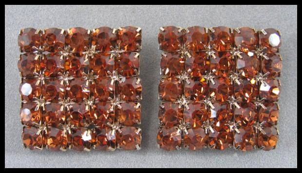 Large Square Honey Amber Colored Rhinestone Earrings