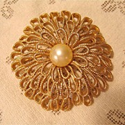 Gold-tone Trifari Pin with Faux Pearl