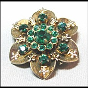 Petite Gold-tone and Green Rhinestone Pin