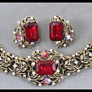SALE Bracelet and Earrings with Ruby Red Center Stones