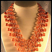 Elegant Early Plastic Coral Colored Bib Necklace