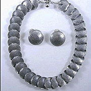 Vintage Napier Silver Tone  Demi Parure Necklace and Earrings