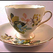 Gladstone Bone China Cup and Saucer with Flower and Leaf Decoration