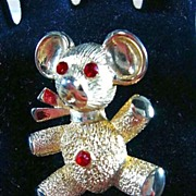 Cute Little Teddy Bear Pin with Ruby Red Eyes