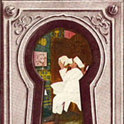 Keyhole Postcard Showing Cook Imbibing at the End of the Day