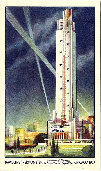 1933 Chicago World's Fair Havoline Thermometer Postcard