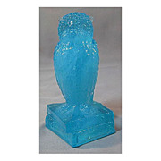 SALE Degenhart Wonder Blue Glass Owl Figure