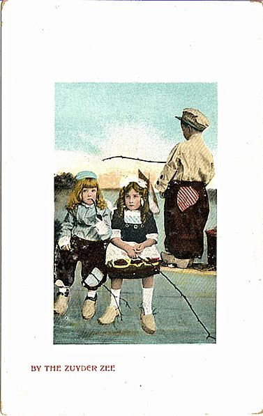 Postcard of Dutch Children Fishing in the Zuyder Zee