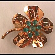 Coro Pin Brooch with Blue Rhinestones