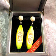 Vintage Silver Screw Back Carved Ivory Banana Earrings