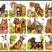 Vintage Die Cuts of Kittens and Puppies