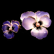 Vintage Purple Enamel Pansy Pin Set