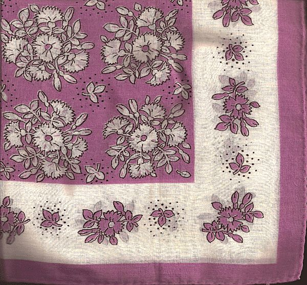 Purple and White Flowered Hankie Handkerchief