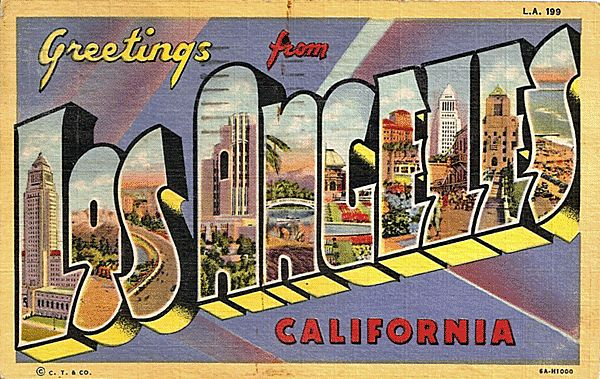 Big letter greetings from los angeles california postcard for Antique shops in los angeles