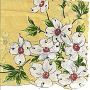 Lovely Yellow Hankie Handkerchief Adorned with Dogwood Flowers