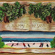 Embossed Happy New Year Postcard