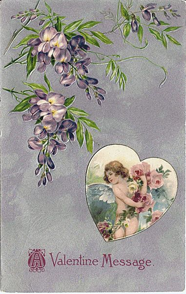 Winsch Valentine Postcard with  Cupid in Heart