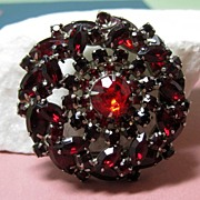 Dimensional Deep Red Rhinestone Pin