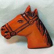 SALE Butterscotch Color Plastic Horse Head Pin