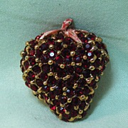 Deep Red Rhinestone Strawberry Pin with Enamel Stem