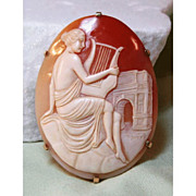 Shell Cameo in 14 K Gold Setting - Maiden Playing Lyre with Arc de Triomphe in Background
