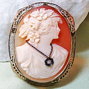 White Gold 14K Filigree Shell Cameo Diamond Habille Brooch Pendant