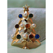 Christmas Tree Pin with Simulated Pearls and Rhinestones