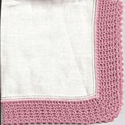 Lovely Linen Hankie Handkerchief with Wide Dusty Rose Crochet Border