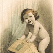 Sweet Postcard of Little Girl Covering her Potty with a Crate