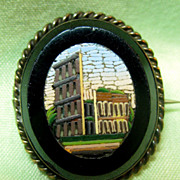 Micromosaic Pin Brooch of Italian Ancient Ruins