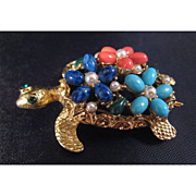 Gorgeous ART Sea Turtle Pin with Turquoise, Coral and Lapis Blue Colored Flowers