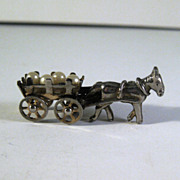 Silver-tone Donkey Cart with Working Wheels Carrying Simulated Pearls and Rhinestones