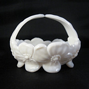 Westmoreland Milk Glass Dogwood Basket