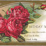 Winsch Embossed Birthday Postcard with Beautiful Red Cabbage Roses