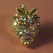 Petite Strawberry Pin with Aurora Borealis Rhinestones