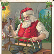 Santa Christmas Postcard - Making  Sled