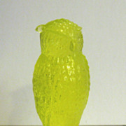 Degenhart Vaseline Owl Figurine