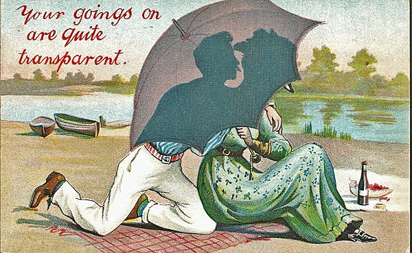 Couple Spooning on the Beach Behind an Umbrella Zim Postcard