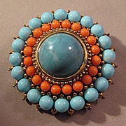 Outstanding Round Pin Brooch with Simulated Turquoise and Coral