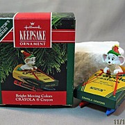 Bright Moving Colors Crayola Crayon Hallmark Ornament with Mouse 1990 #4 in Series