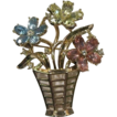 Alfred Philippe Trifari Basket Pin with Colorful Flowers