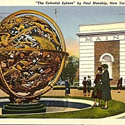 "Postcard from New York World's Fair ""The Celestial Sphere"" by Paul Manship"