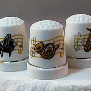 SALE Three Porcelain Thimbles With Pictures Depicting Musical Instruments